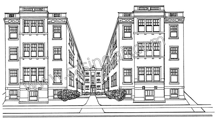 Historic detroit apartment building grosse pointe prints for Apartment building drawing